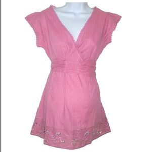Maternity Empire Waist Pink Top w/ Cut Out Detail